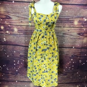 Moon River casual floral midi dress yellow NWOT